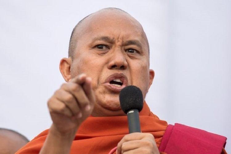 Ashin Wirathu. Seorang biksu yang dianggap sebagai penghasut. Dia kini diburu polisi setelah berkomentar menghina Aung San Suu Kyi.