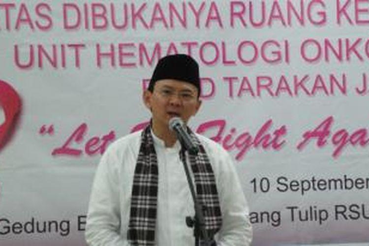 Gubernur DKI Jakarta Basuki Tjahaja Purnama meresmikan ruang kemoterapi Tulip unit Hematologi Onkologi Paliatif di Rumah Sakit Umum Daerah (RSUD) Tarakan, Jakarta Barat, Kamis (10/9/2015).