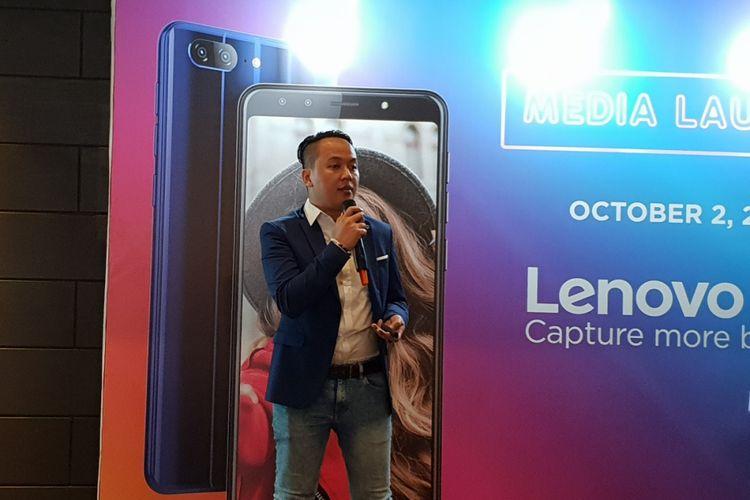 Evan Angganantika, Digital Marcomm Manager InOne Technology di peluncuran Lenovo K9 di Jakarta, Selasa (2/10/2018).