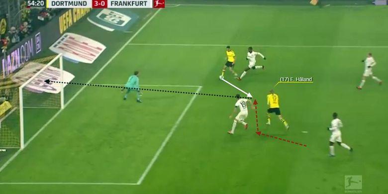 Erling Haaland melakukan gerakan dari belakang sebelum menyambut umpan dan mencetak gol.