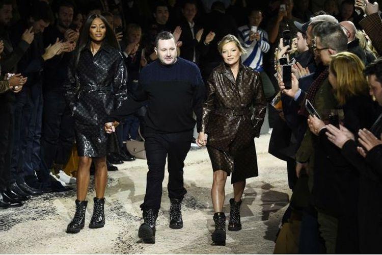 Kim Jones, Kate Moss dan Naomi Campbell di Paris Fashion Weak