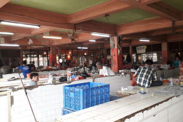 Area pedagang daging di Pasar Grogol Jakarta Barat pada Jumat (31/8/2018).