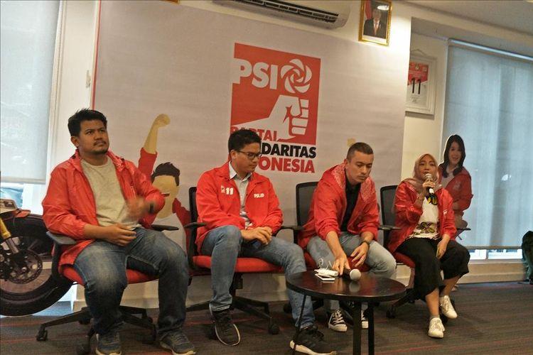 Wakil Ketua DPW PSI DKI Jakarta, Rian Ernest dan Ketua DPW PSI DKI Jakarta, Michael Victor Sianipar, di Kantor DPP PSI, KH Wahid Hasyim, Tanah Abang, Jakarta Pusat, Kamis (4/7/2019).