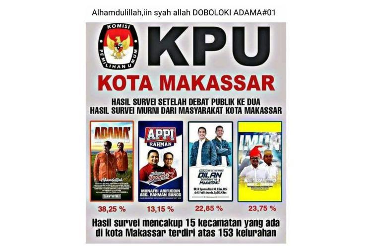 Status Facebook yang menampilkan selebaran hasil survei Pilkada mencatut KPU Kota Makassar.