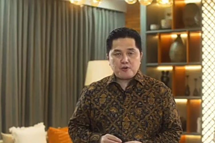 Menteri BUMN Erick Thohir dalam webinar yang diselenggarakan Fakultas Bisnis dan Ekonomika Universitas Islam Indonesia (UII), Sabtu (10/10/2020). (Tangkapan Layar)