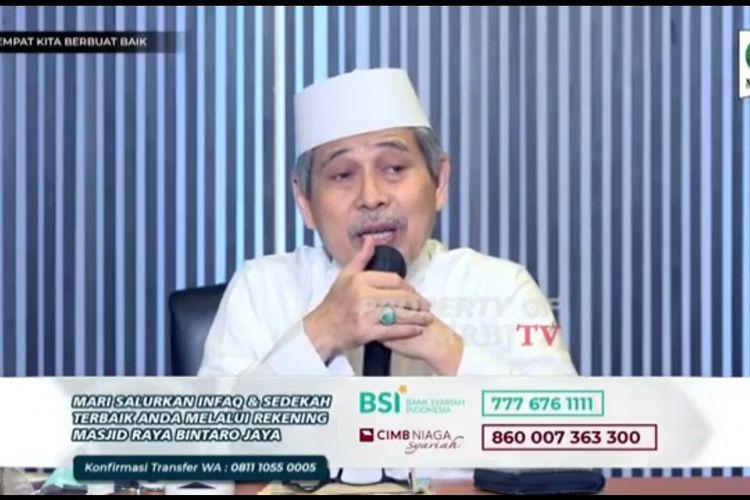 Tangkapan layar video penceramah di Bintaro sebut PPKM Darurat upaya menghalangi warga Ibadah Idul Adha.