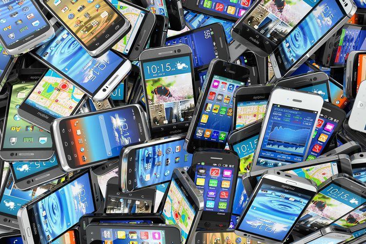 Ilustrasi beragam ponsel