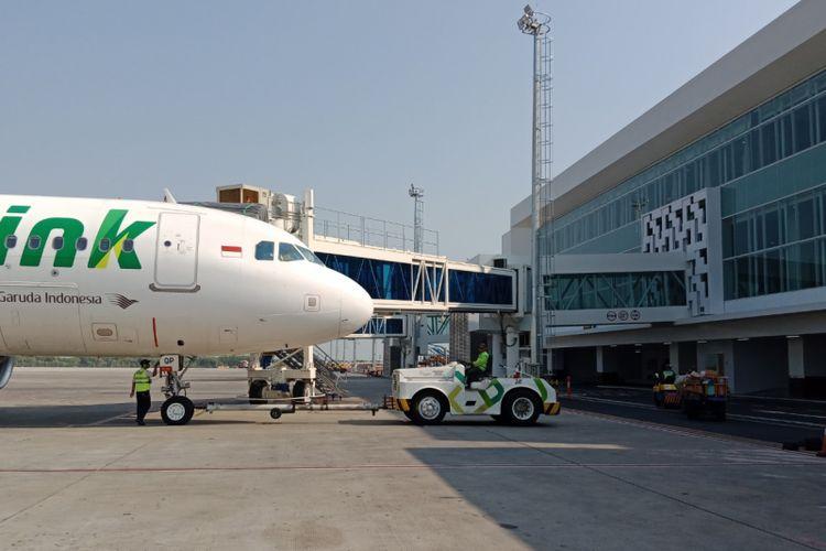 Citilink di terminal baru Bandara Ahmad Yani, Semarang, Kamis (19/7/2018).