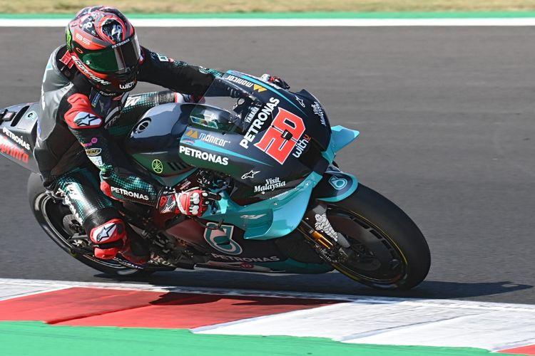 Pebalap Petronas Yamaha SRT asal Perancis, Fabio Quartararo, saat tampil pada sesi kualifikasi MotoGP San Marino, di Sirkuit Misano Marco Simoncelli, Sabtu (12/9/2020).