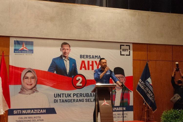 Ketua Umum Partai Demokrat Agus Harimurti Yudhoyono saat memberikan sambutan dalam rapat konsolidasi Pilkada Tangerang Selatan 2020, Rabu (18/11/2020)