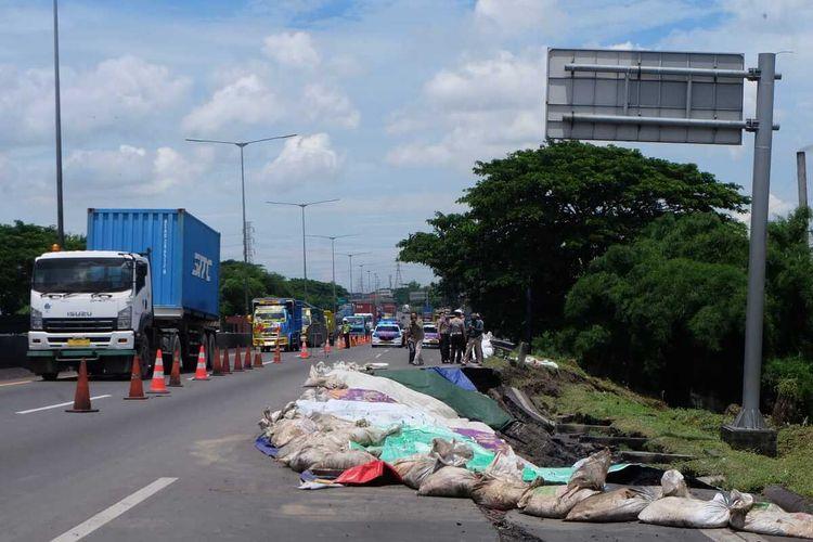 Lokasi longsor di KM 6+200 tol Surabaya - Gempol