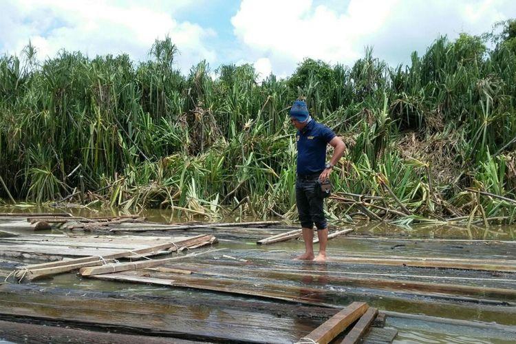 Ribuan kubik kayu yang diduga hasil illegal logging diamankan Polda Sumatera Selatan.