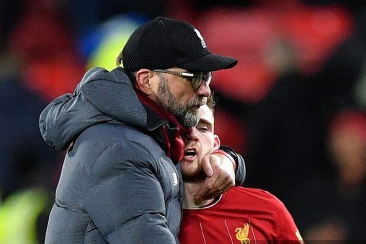 Juergen Klopp, Andy Robertson seusai laga Watford vs Liverpool pada pekan ke-28 Liga Inggris 2019-2020.