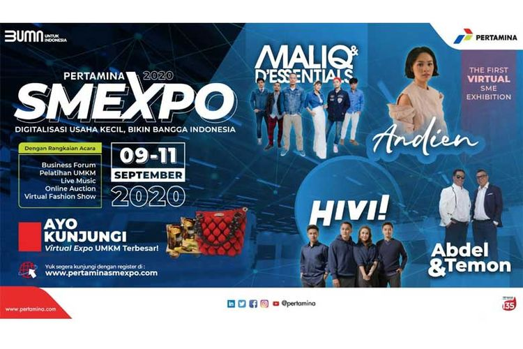 Selain pameran produk UMKM, Pertamina SMEXPO 2020 juga diisi sederet artis Tanah Air.