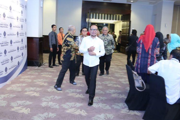 Menteri Ketenagakerjaan M. Hanif Dhakiri saat menghadiri Rakornas Pejabat Fungsional Pengantar Kerja dan Rakornis Atnaker sekaligus pelepasan Purna Tugas Dirjen Binapenta Perluasan Kesempatan Kerja (PKK) di Jakarta, Rabu (26/6/2019) malam.