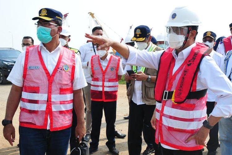 Menteri Perhubungan (Menhub) Budi Karya Sumadi saat meninjau Pelabuhan Patimban, Minggu (6/6/2021).