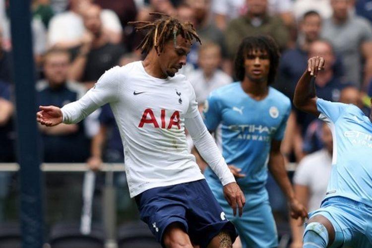 Laga Tottenham vs Man City pada pekan perdana Premier League musim 2021-2022 yang berlangsung di Stadion Tottenham Hotspur, London, Minggu (15/8/2021) malam WIB.
