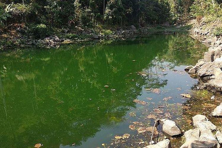 Telaga Nila, juga dikenal sebagai Telaga Biru, di Majalengka pada saat air sedang surut. Jika air tidak surut, warnanya berubah menjadi biru.
