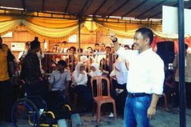 Presiden PKS Anis Matta usai mencoblos, Rabu (9/4/2014).