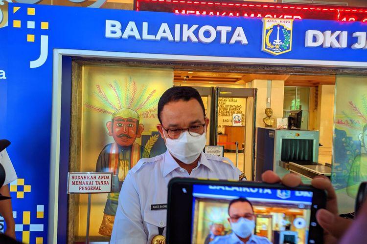 Gubernur DKI Jakarta Anies Baswedan saat ditemui di Balai Kota DKI Jakarta, Rabu (8/9/2021)