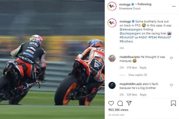 Aleix Espargaro marah pada Pol Espargaro yang mengganggu ritmenya pada sesi latihan bebas FP2 MotoGP Inggris 2021
