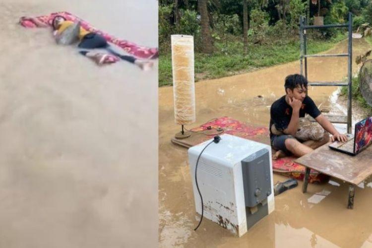 Potongan video yang viral memerlihatkan seorang lelaki tertidur pulas di kasur yang kemudian hanyut saat banjir. Video itu dibuat oleh pemuda Malaysia bernama Muhamad Faris Sulaiman. Dia juga membuat video viral kedua, di mana dia bekerja di tengah banjir.(Instagram via mStar)