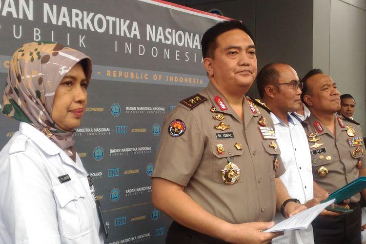 Polri dan BNN menggelar konferensi pers terkait rehabilitasi Waskjen Demokrat, Andi Arief, di Gedung BNN, Jakarta Timur, Rabu (6/3/2019).