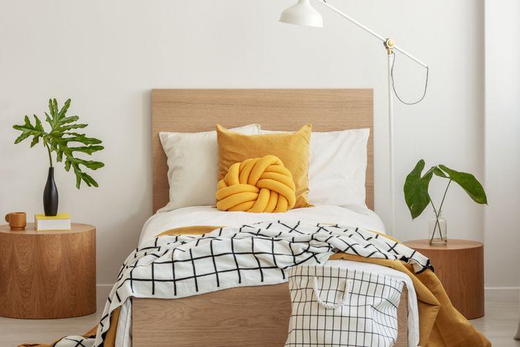 Ilustrasi tempat tidur, tempat tidur minimalis, seprai.