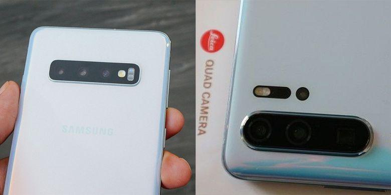 Huawei P30 Pro (kanan), memiliki empat kamera belakang. Kamera ToF ditempatkan persis di bawah LED flash. Sementara itu, Galaxy S10 Plus dibekali tiga kamera belakang.