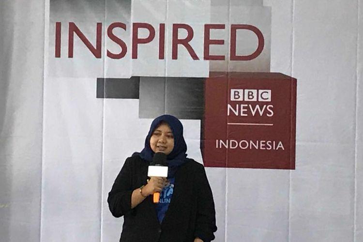 Utari Octavianty saat roadshow BBC Get Inspired di Universitas Merdeka Malang, Kamis (14/2/2018).