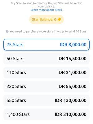 Ilustrasi harga Stars di Facebook Gaming.