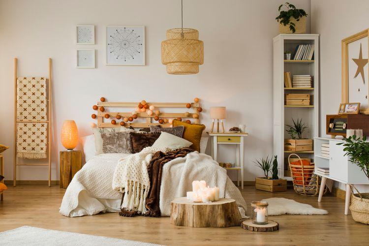 Ilustrasi kamar tidur, kamar kost aesthetic.