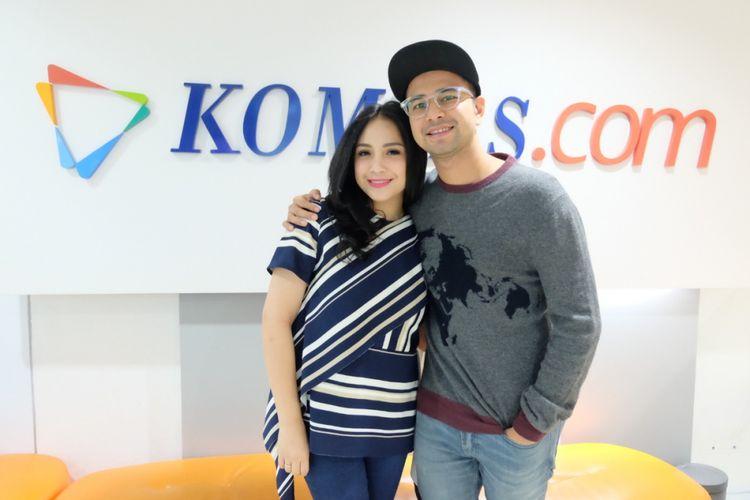 Nagita Slavina dan Raffi Ahmad saat promo film The Secret ke Gedung Kompas Gramedia, Jalan Palmerah Selatan, Jakarta, Rabu (18/4/2018).