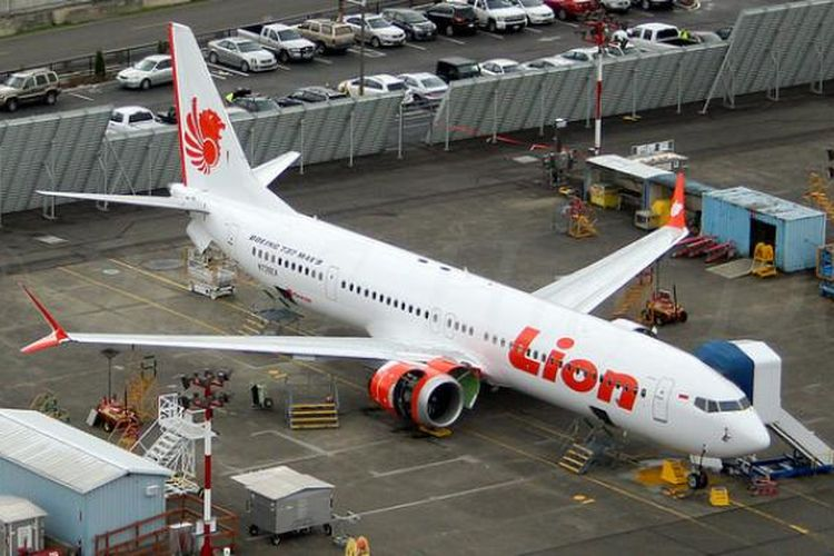 B737 MAX 8 Lion Air di pabrik Boeing di Everett, Washington, AS.