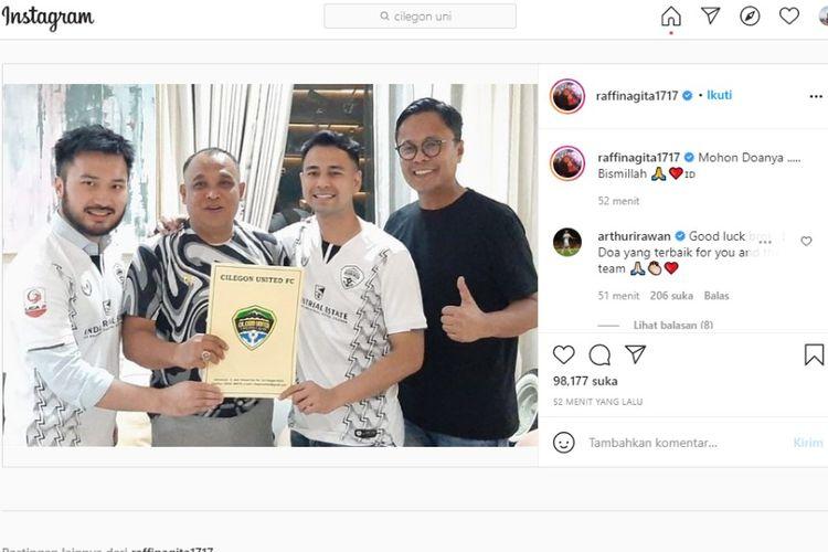 Raffi Ahmad mengunggah foto bersama Presiden Cilegon United Yudhi Apriyanto di Instagram pada Minggu (28/3/2021).