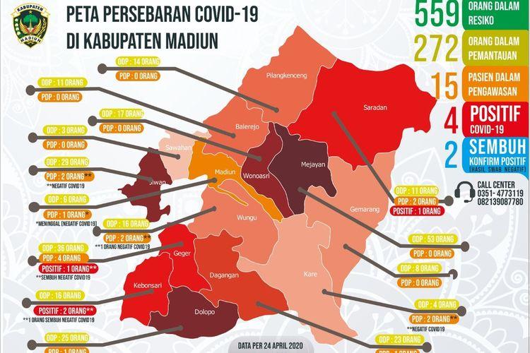 Inilah peta persebaran Covid-19 di Kabupaten Madiun, Jawa Timur hingga Jumat (24/4/2020)