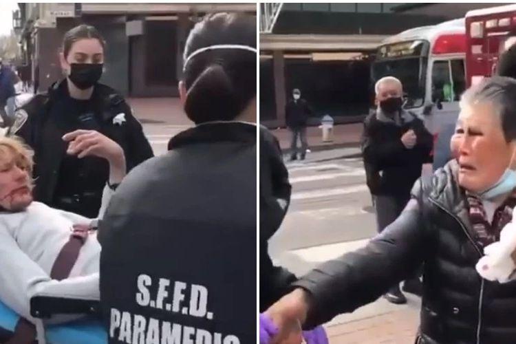 Potongan video yang diambil media Amerika Serikat (AS) KPIX 5 menunjukkan seorang perempuan (kanan) keturunan Asia menangis karena ditinju oleh pria yang tak dikenal.