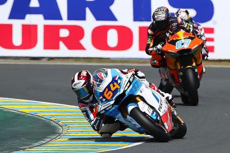 Pebalap Pertamina Mandalika SAG Team, Bo Bendsneyder, saat balapan di Moto2 Prancis 2021