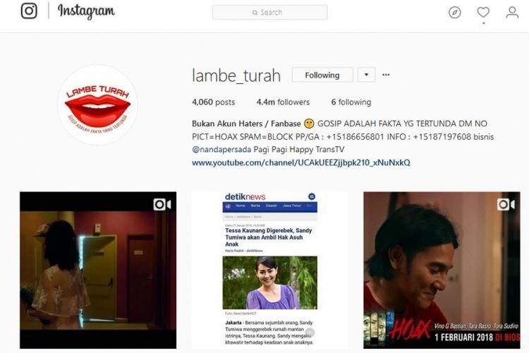 Laman akun gosip Lambe Turah di media sosial Instagram.