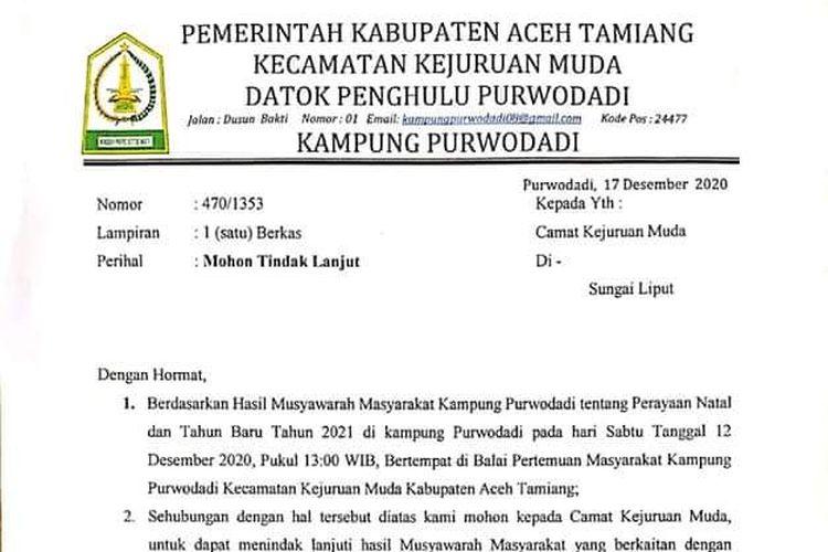 Tangkapan layar surat yang dikirim Pemerintah Desa Purwodadi kepada Camat Kejuruan Muda, Kabupaten Aceh Tamiang, terkait larangan penyelenggaraan ibadah di rumah warga berinisial WP.
