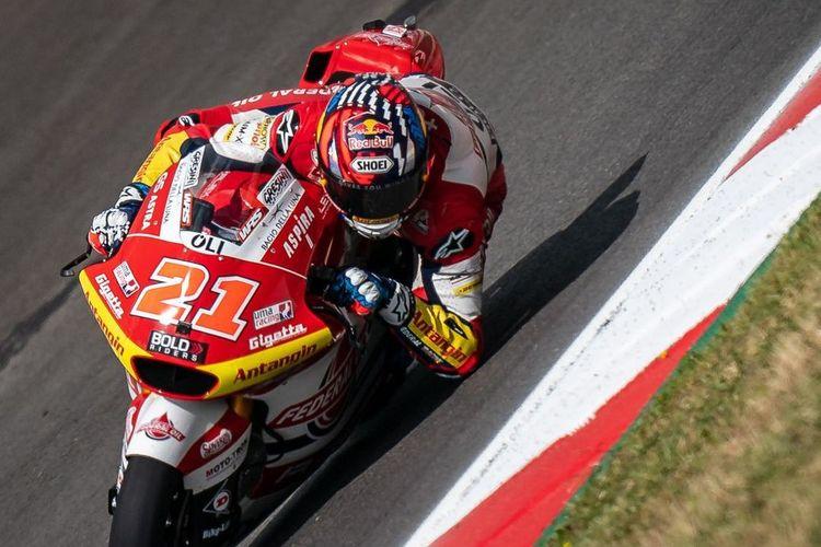 Fabio Di Giannantonio saat sesi latihan bebas di Moto2 Portugal 2021