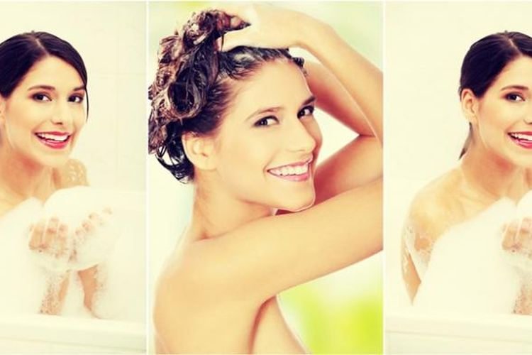 Ilustrasi wanita sedang mandi