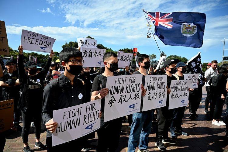 Para pendukung demokrasi Hong Kong menggelar aksi unjuk rasa di Sydney, pada Minggu (29/9/2019).