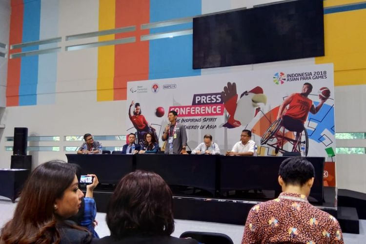 Konferensi merchandise dan sponsor Asian Para Games 2018, Rabu, (3/10/2018) di GBK Arena, Senayan, Jakarta.