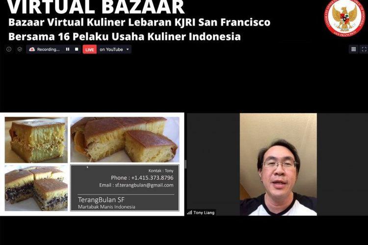 Kegiatan Bazaar Virtual Kuliner Lebaran, yang diselenggarakan KJRI San Francisco bersama 16 pengusaha kuliner Indonesia di Amerika Serikat.