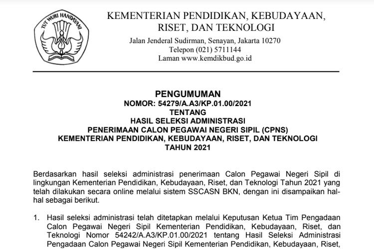 Tangkapan layar pengumuman CPNS Kemendikbud 2021