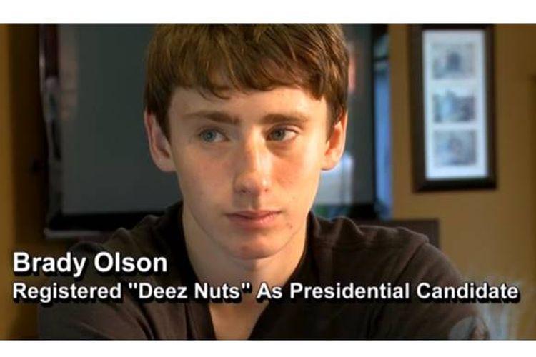 Brady Olsen atau Deez Nuts (15) menyalonkan dirinya sebagai capres AS ketiga pada pemilu 2016.