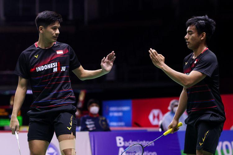 Kusumawardana/Yeremia saat melawan wakil Perancis, Eloi Adam/Julien Maio, di Thailand Open 2021.