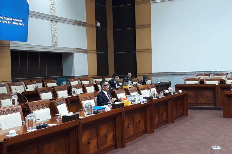 Helmy Yahya dalam rapat dengar pendapat dengan Komisi I DPR di Kompleks Parlemen, Senayan, Jakarta, Selasa (28/1/2020).