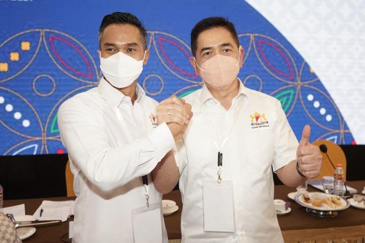 Ketua Umum Kadin Indonesia periode 2021-2026 Arsjad Rasjid (kanan) dan Ketua Dewan Pertimbangan Kadin Indonesia Anindya Bakrie (kiri).